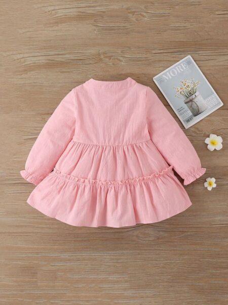 Plain Lattern Sleeves Little Girls Dresses  Wholesale DRESSES 2021-08-31