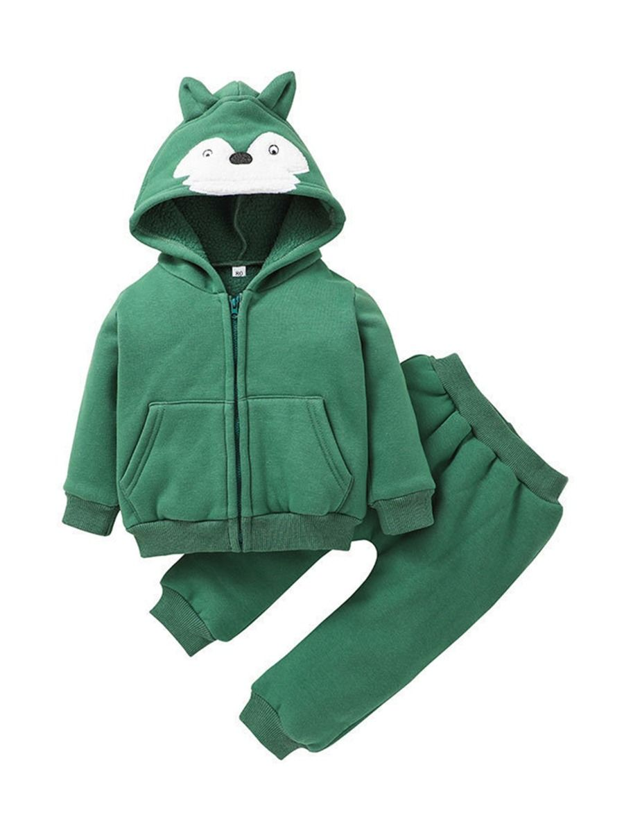 2 Pieces Fox Pattern Baby Boys Outfits Hoodie Jackets With Pants  Wholesale BABIES 2021-08-31