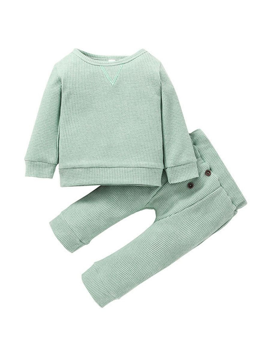 Ribbed Plain Wholesale Baby Clothes Set Top With Pants  Wholesale