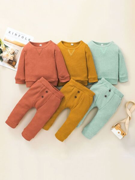 Ribbed Plain Wholesale Baby Clothes Set Top With Pants  Wholesale 2