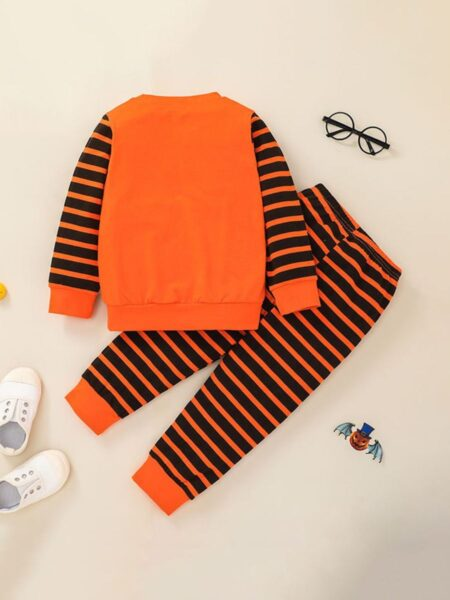 Halloween Toddler Kids Striped Pumkin Print Top With Pants Sets  Wholesale Boys 2