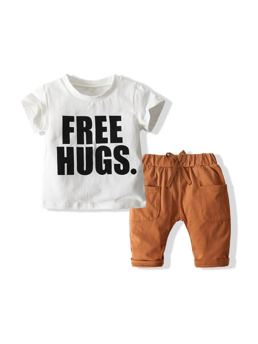 Wholesale Boy Clothes Sets Free Hugs Print T-shirt With Short  Wholesale BABIES 2021-09-01