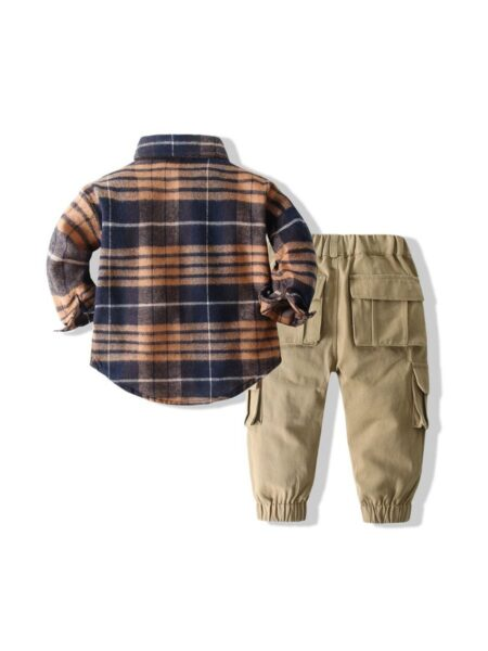 Two Pieces Checked Shirt With Pants Wholesale Little Boy Clothing Sets Wholesale BABIES 2021-09-01