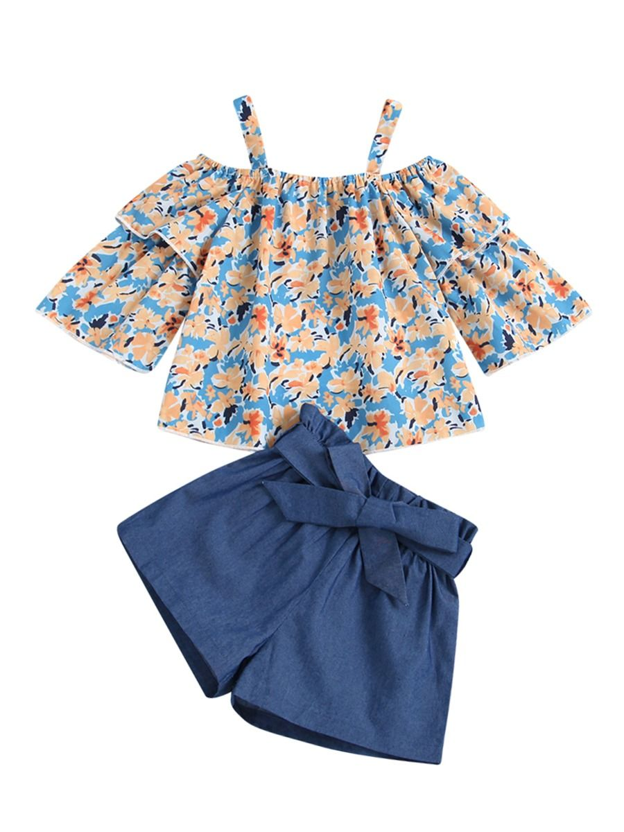 Two Pieces Solid Color Wholesale Little Girl Clothing Sets Off Shoulder Top And Shorts Wholesale Little Girl Clothing  Wholesale GIRLS 2021-08-18
