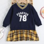 FOREVER 78 Letters Printed Checked V Neck Dresses Wholesale Little Girl Clothing  Wholesale 4