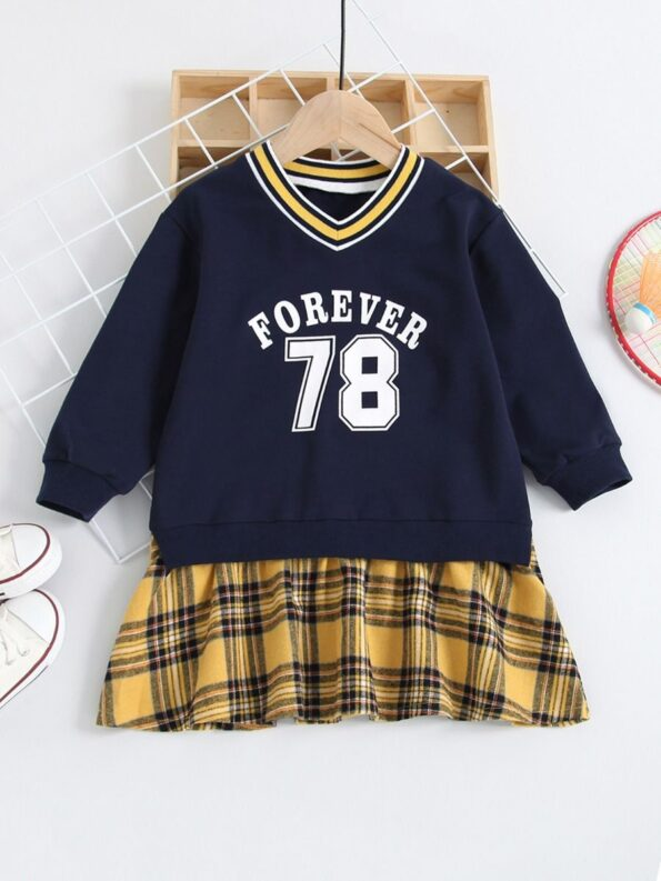 FOREVER 78 Letters Printed Checked V Neck Dresses Wholesale Little Girl Clothing  Wholesale 9