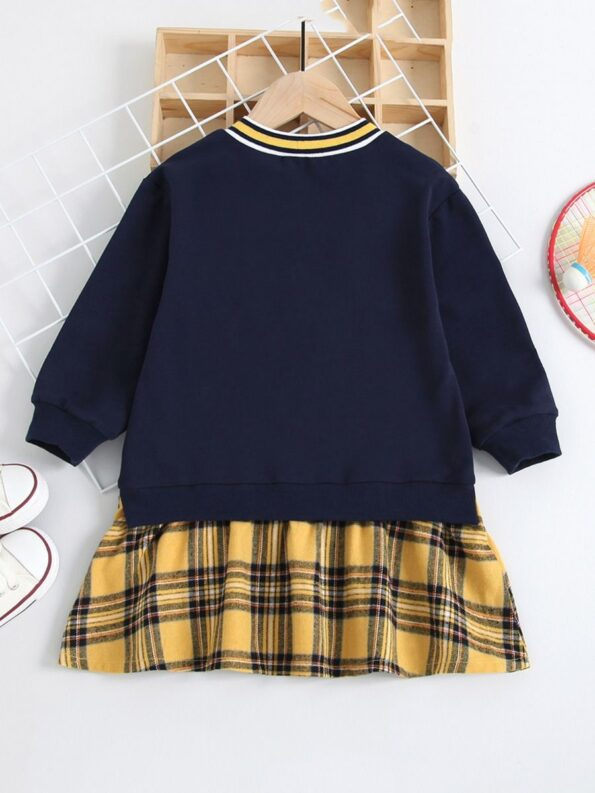 FOREVER 78 Letters Printed Checked V Neck Dresses Wholesale Little Girl Clothing  Wholesale 8