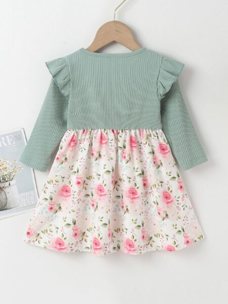 Ribbed Flower Printed Ruffle Online Baby Girl Dress  Wholesale 2