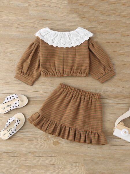 Two Pieces Houndstooth Baby Girl Clothing Sets Top With SkirtWholesale 2