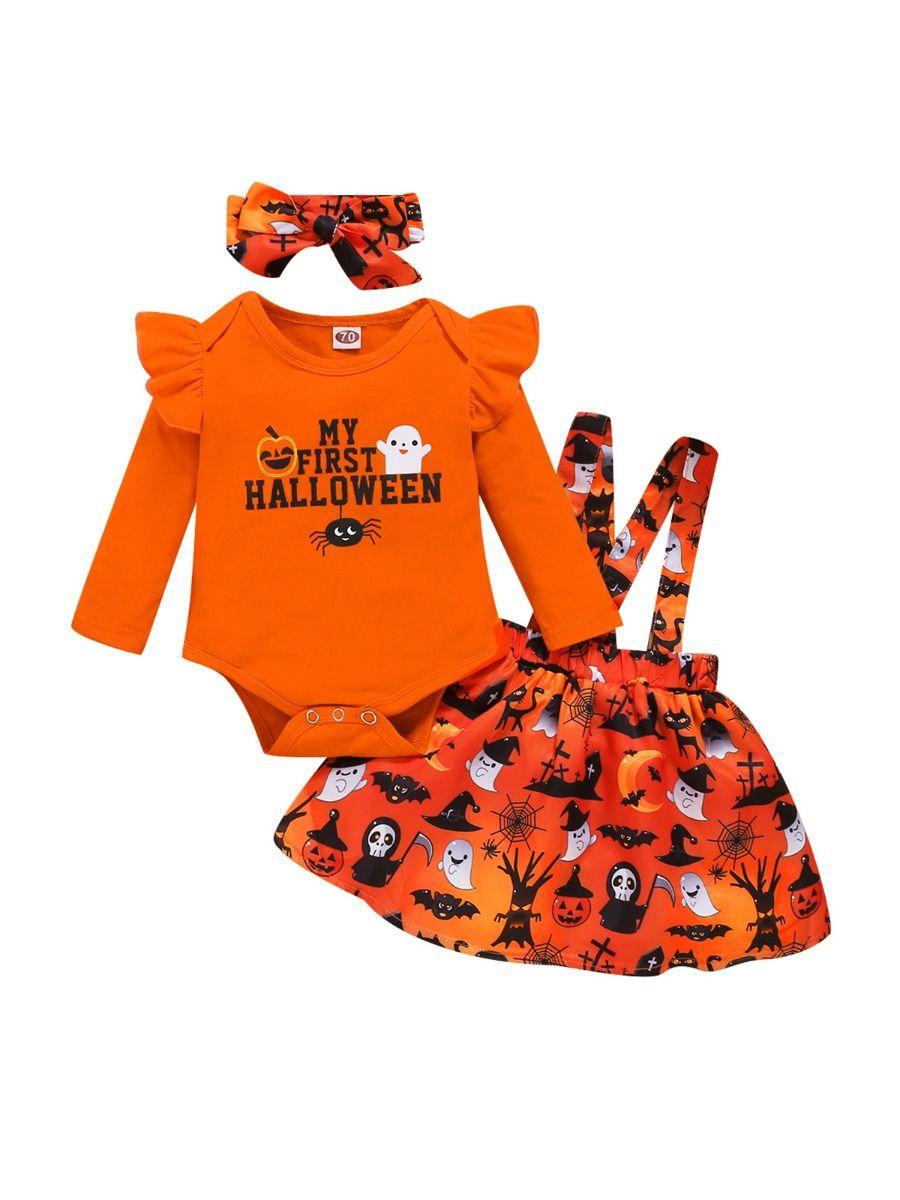 MY FIRST HALLOWEEN Pumkin Printed Baby Girl Outfits Bodysuit Suspender Skirt Headband  Wholesale