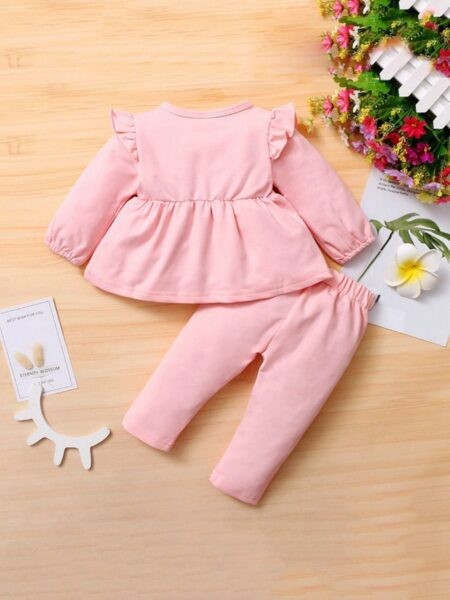 2 Pieces Bowknot Decor Top With Pants Baby Girls Sets  Wholesale 2