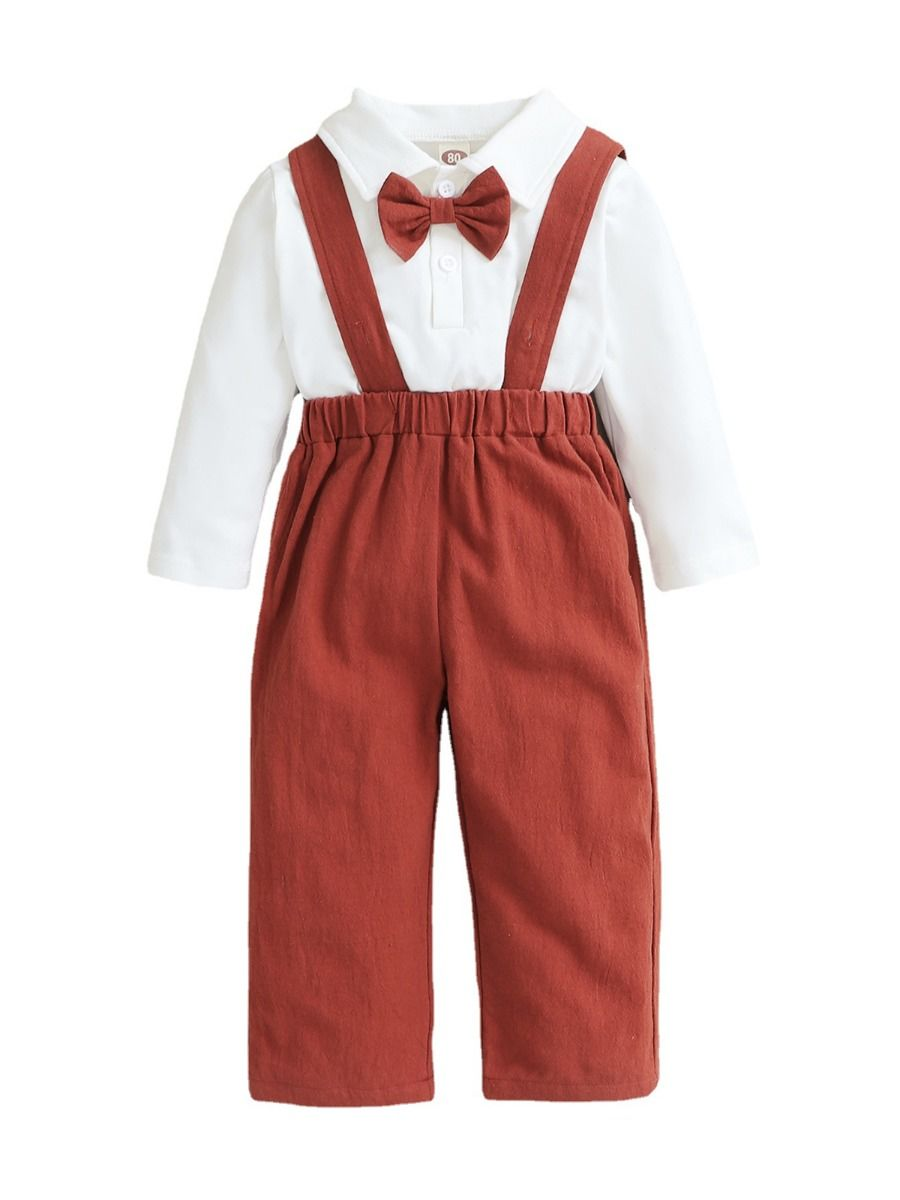 Baby Girls Outfits Bowtie Onesies With Suspender Trousers  Wholesale
