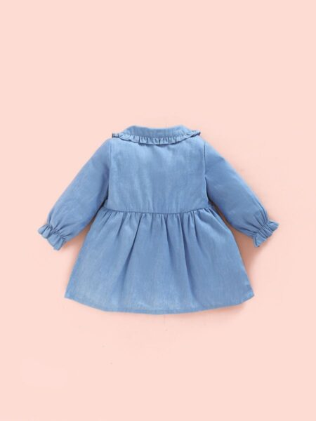 Contrast Collar Lattern Sleeves Buttons Denim Dress For Baby Girls  Wholesale 2