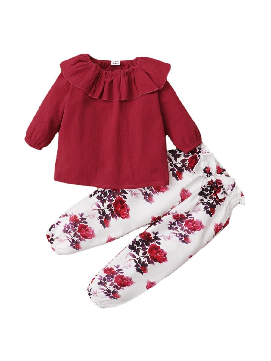 Hit Color Ruffle Top Flower Printed Pants Toddler Girls Sets  Wholesale