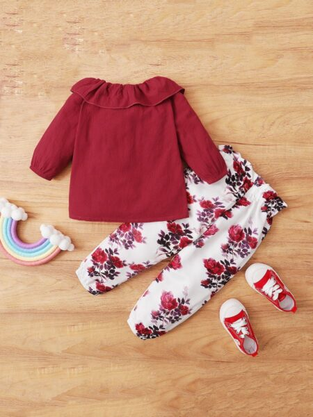 Hit Color Ruffle Top Flower Printed Pants Toddler Girls Sets  Wholesale 2