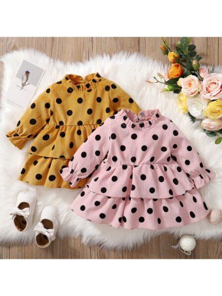 Polka Dots Corduroy Lattern Sleeves Baby Girls Dresses  Wholesale BABIES 2021-08-31