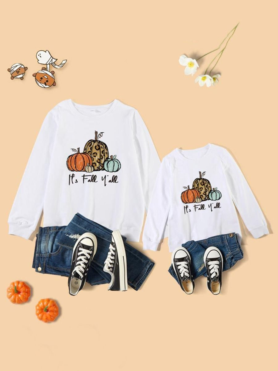 Mommy And Me It's Fall Y'all Pumpkin Long-Sleeve Tee FAMILY MATCHING 2021-09-01