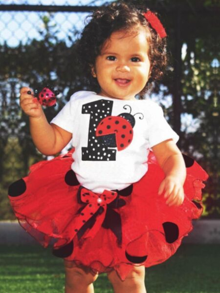 3 Pieces Birthday Baby Girl Clothing Sets Ladybug Number Print Bodysuit And Mesh Skirt  Wholesale BABIES 2021-08-27