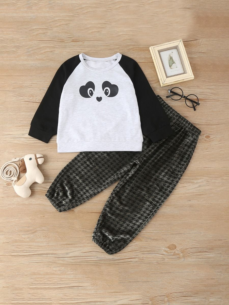 Two Pieces Kid Outfits Panda Top With Houndstooth Pants  Wholesale
