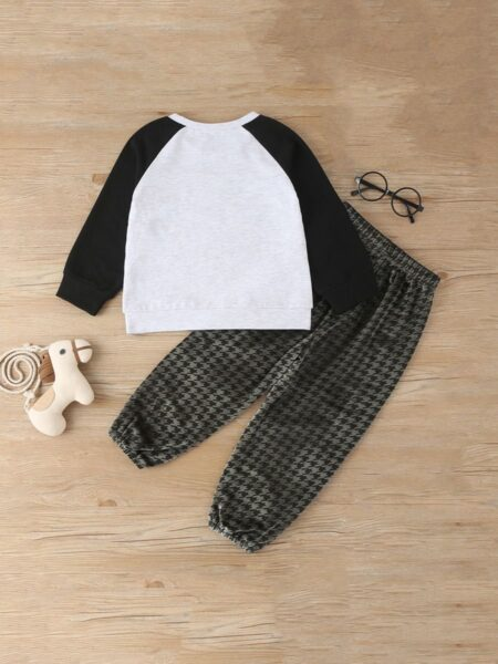 Two Pieces Kid Outfits Panda Top With Houndstooth Pants  Wholesale 2