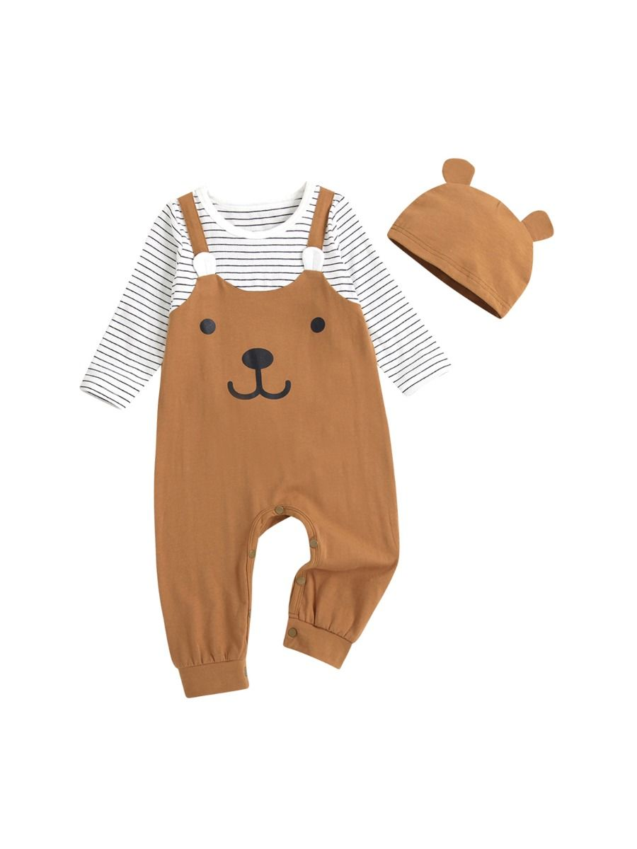 Fake Two-piece Cartoon Bear Striped Baby Jumpsuit With Hat Wholesale BABIES 2021-08-27