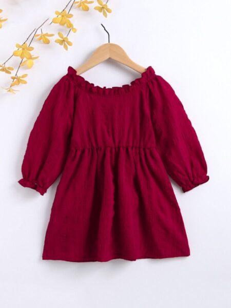 Frill Trim Lantern Sleeve Red Dress Wholesale Girls Clothes Wholesale DRESSES 2021-08-27
