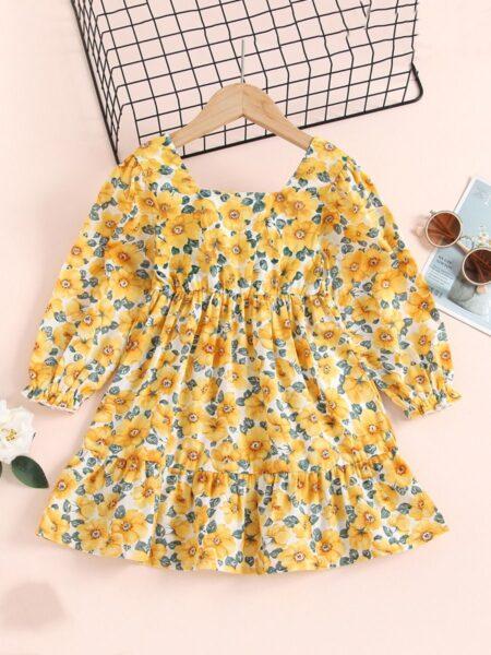 Floral Print Frill Trim Dresses For Girl Wholesale DRESSES 2021-08-27