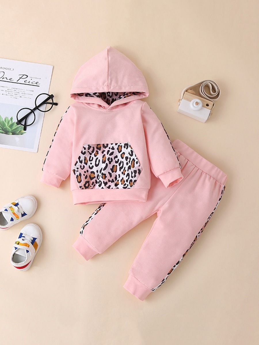 Two Pieces Leopard Print Baby Tollder Girls Sets Hoodies With Trousers Wholesale