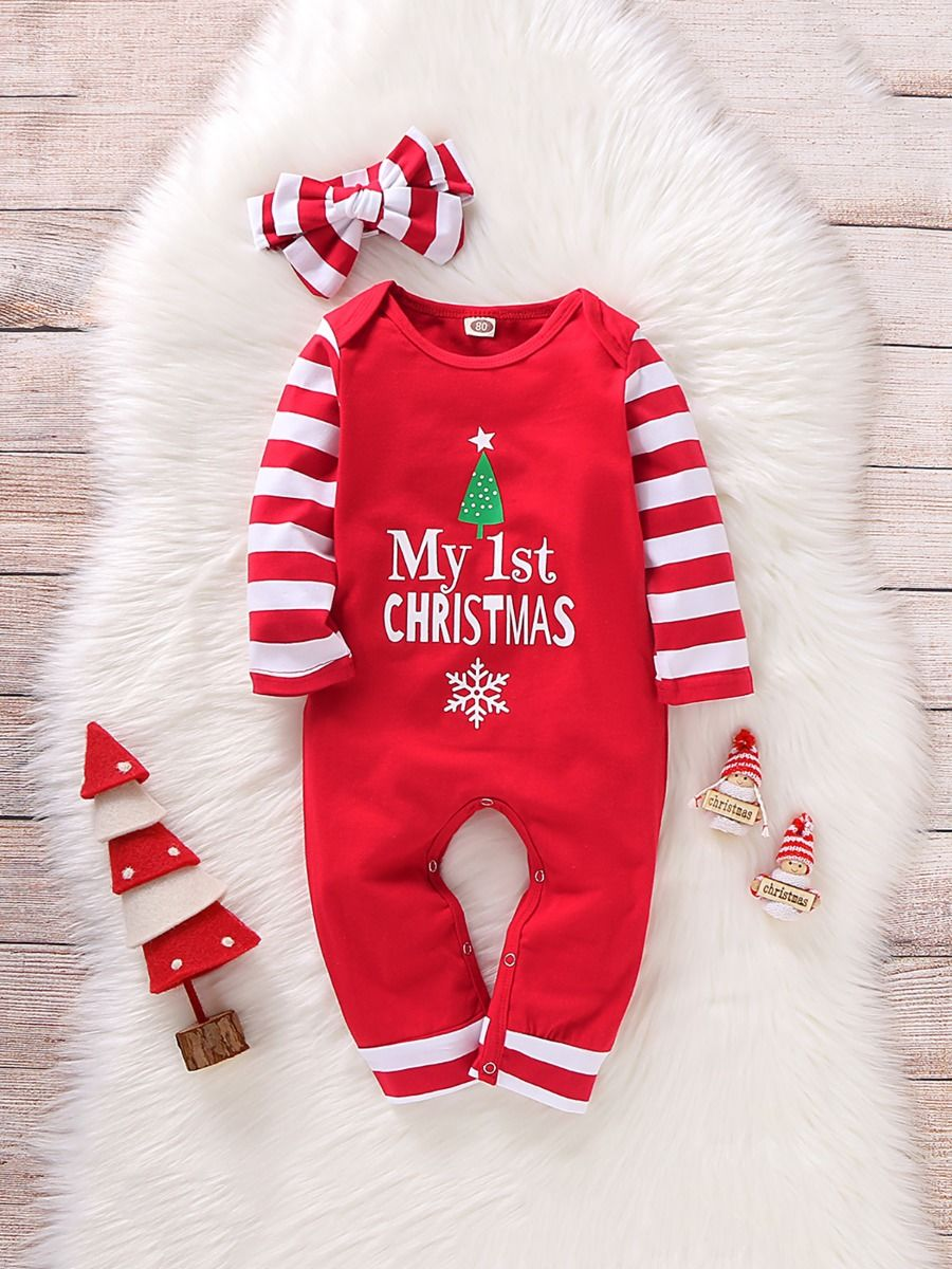 My 1st Christmas Baby Jumpsuit With Headband Wholesale Baby Clothes  Wholesale