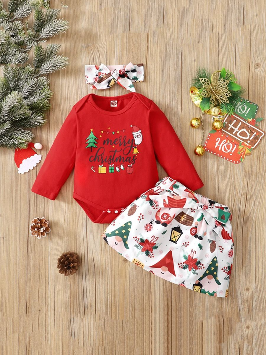 Merry Christmas Print Baby Girl Clothing Sets Bodysuit Skirt Headband  Wholesale