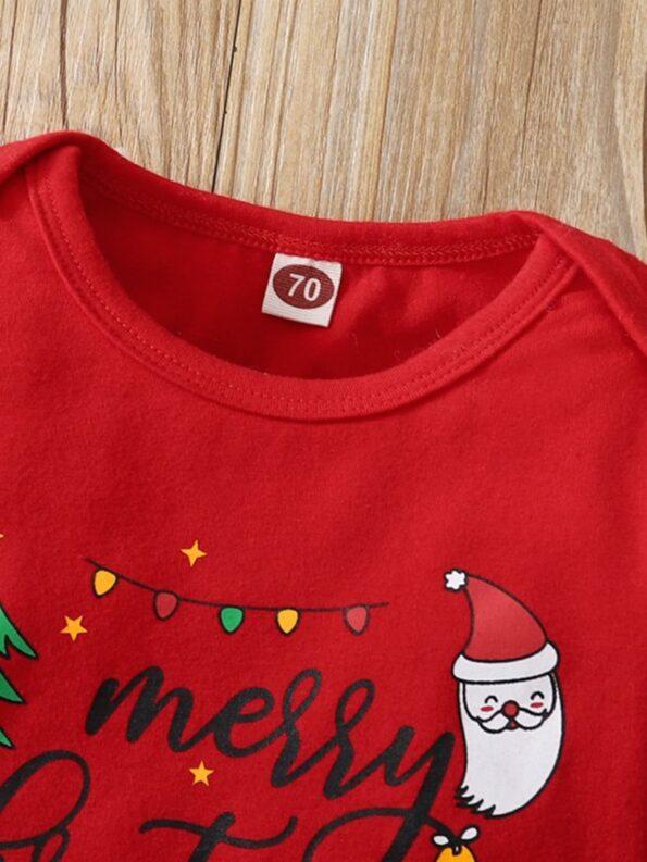Merry Christmas Print Baby Girl Clothing Sets Bodysuit Skirt Headband  Wholesale 9
