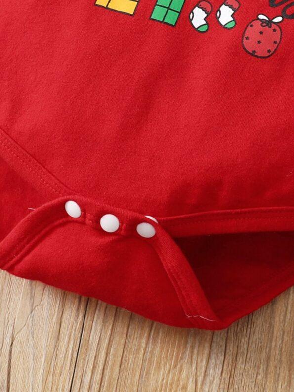 Merry Christmas Print Baby Girl Clothing Sets Bodysuit Skirt Headband  Wholesale 8