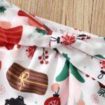 Merry Christmas Print Baby Girl Clothing Sets Bodysuit Skirt Headband  Wholesale 6