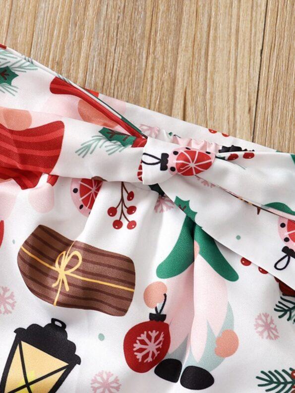 Merry Christmas Print Baby Girl Clothing Sets Bodysuit Skirt Headband  Wholesale 10