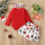 Merry Christmas Print Baby Girl Clothing Sets Bodysuit Skirt Headband  Wholesale 3