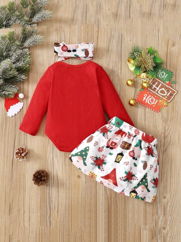 Merry Christmas Print Baby Girl Clothing Sets Bodysuit Skirt Headband  Wholesale 7