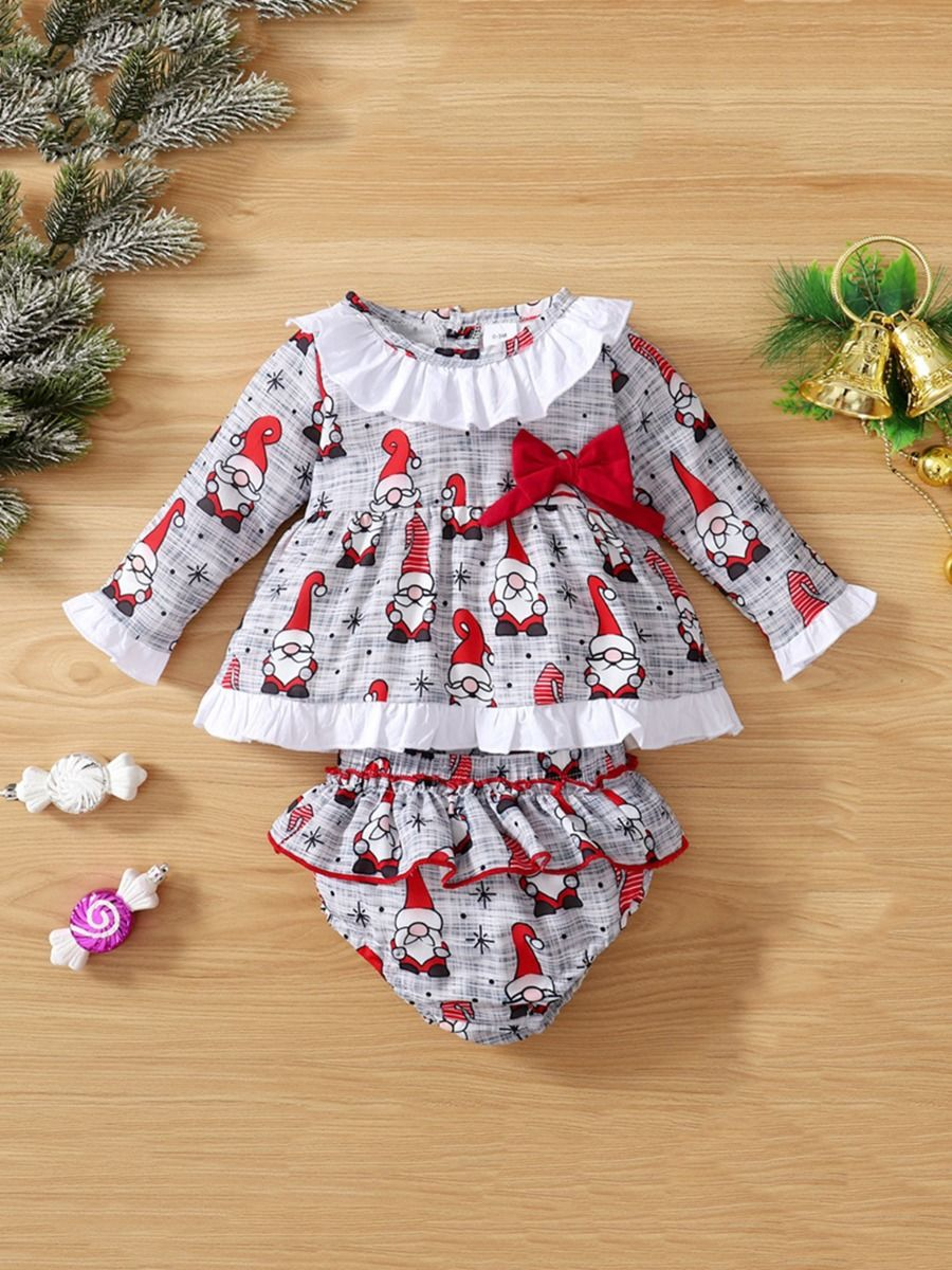 Santa Print Baby Girls Sets Top With Short Wholesale Baby Clothes  Wholesale