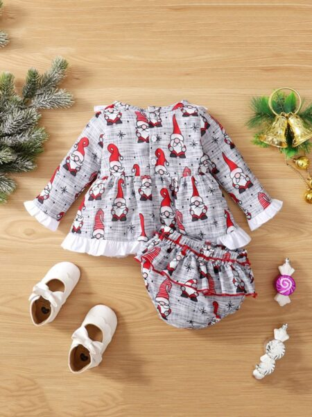 Santa Print Baby Girls Sets Top With Short Wholesale Baby Clothes  Wholesale 2
