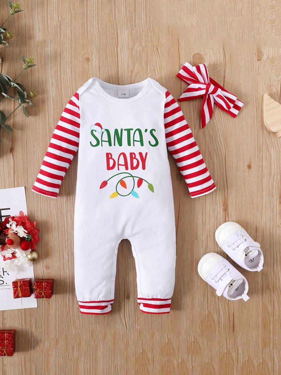 Santa's Baby Print Baby Jumpsuit With Headband Wholesale Baby Clothes  Wholesale