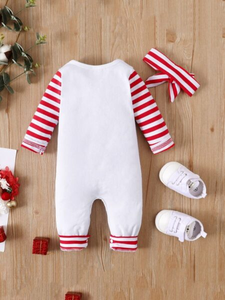 Santa's Baby Print Baby Jumpsuit With Headband Wholesale Baby Clothes  Wholesale 2