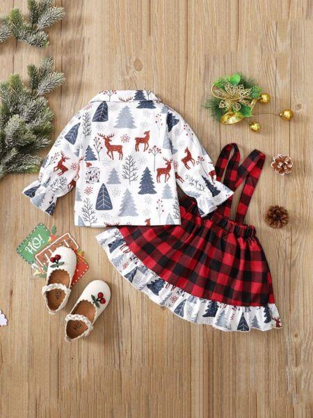 Elk Print Baby Girls Christmas Sets Shirt With Suspender Skirt Wholesale Baby Clothes  Wholesale 2