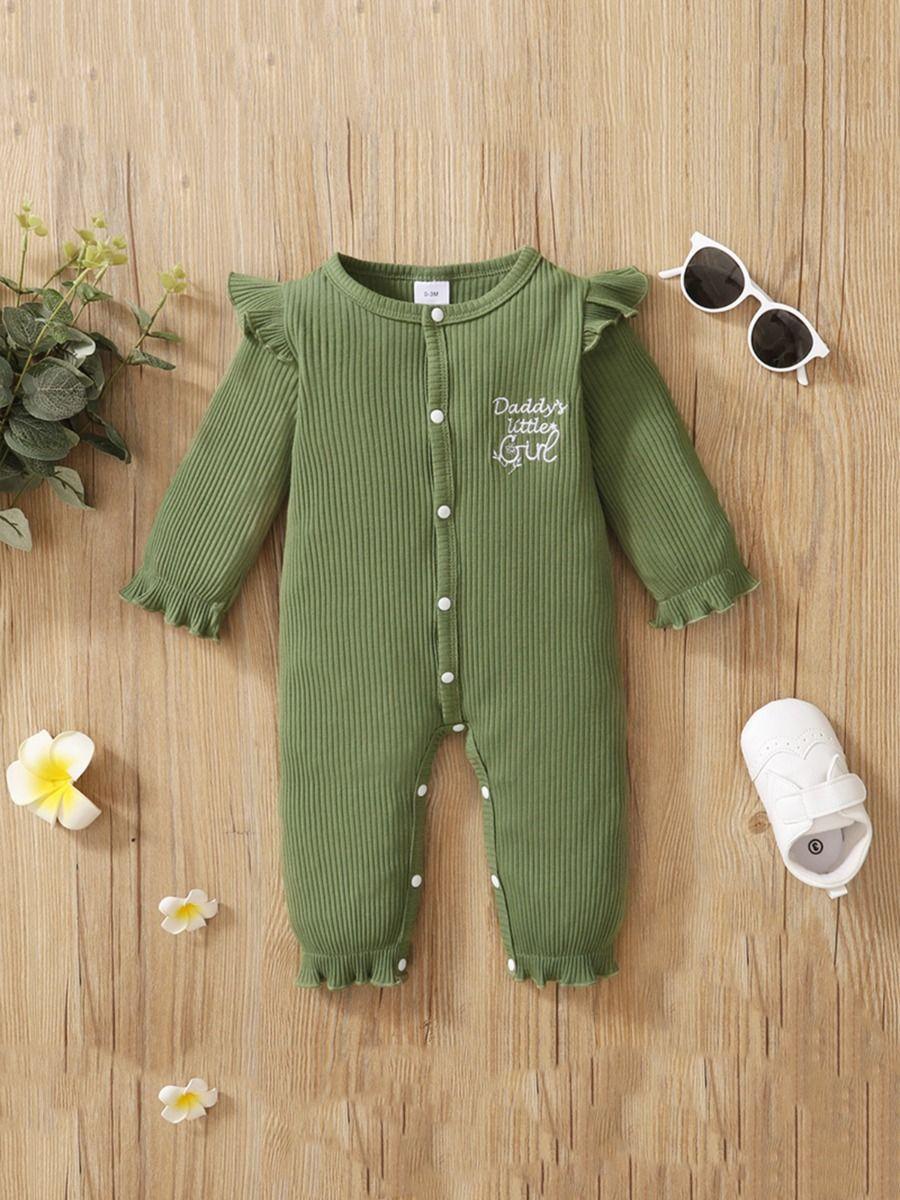 Leopard Ruffle Trim Zipper Baby Girl Jumpsuit Wholesale Baby Clothes  Wholesale BABIES 2021-08-28