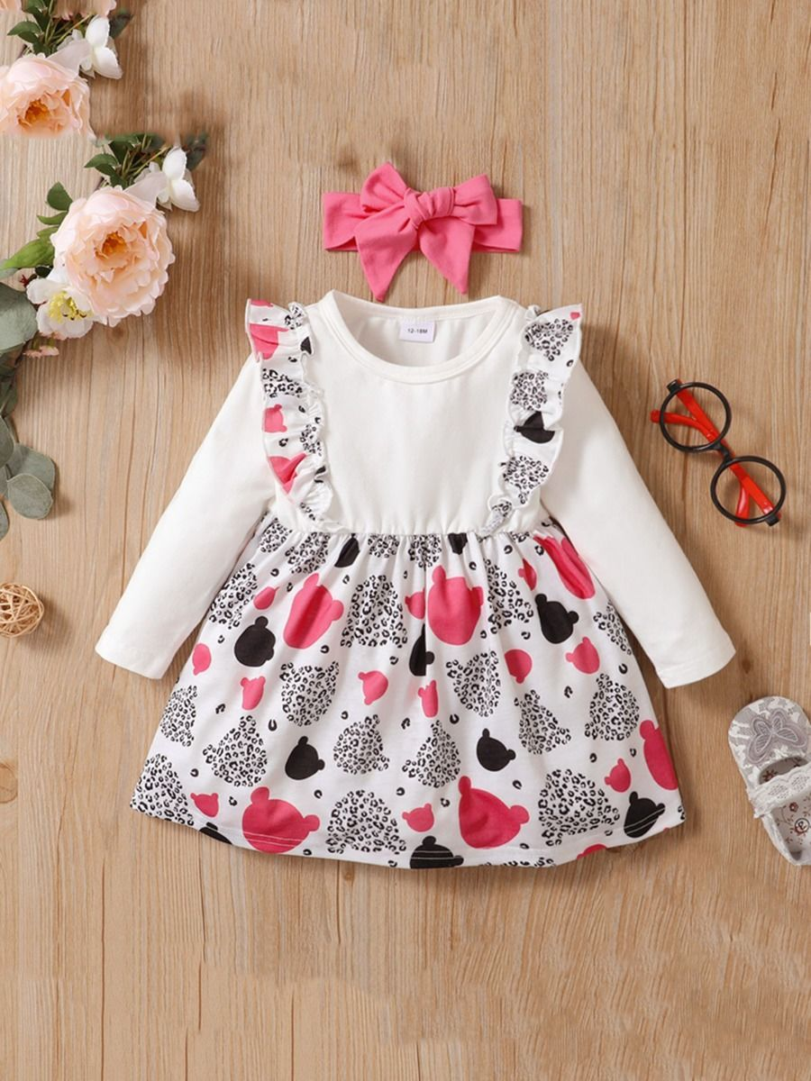 Leopard Ruffle Decor Dresses For Girl With Headband Wholesale Baby Clothes  Wholesale