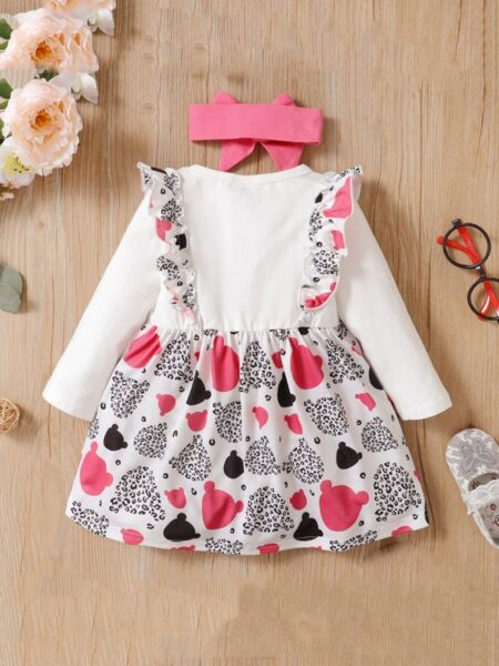 Leopard Ruffle Decor Dresses For Girl With Headband Wholesale Baby Clothes  Wholesale 2