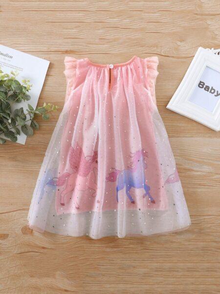 Sleevesless Star Mesh Unicorn Dresses For Girl  Wholesale 2