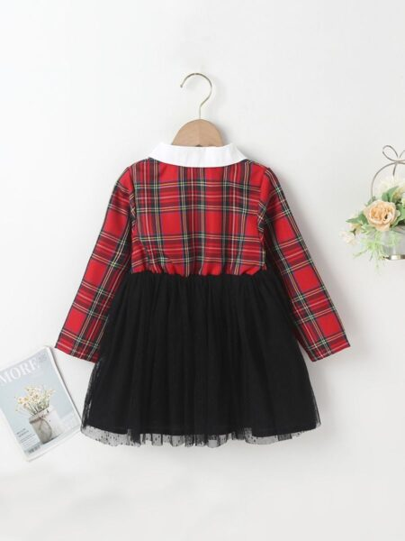 Checked Contrast Collar Mesh Dresses For Girls  Wholesale DRESSES 2021-09-01