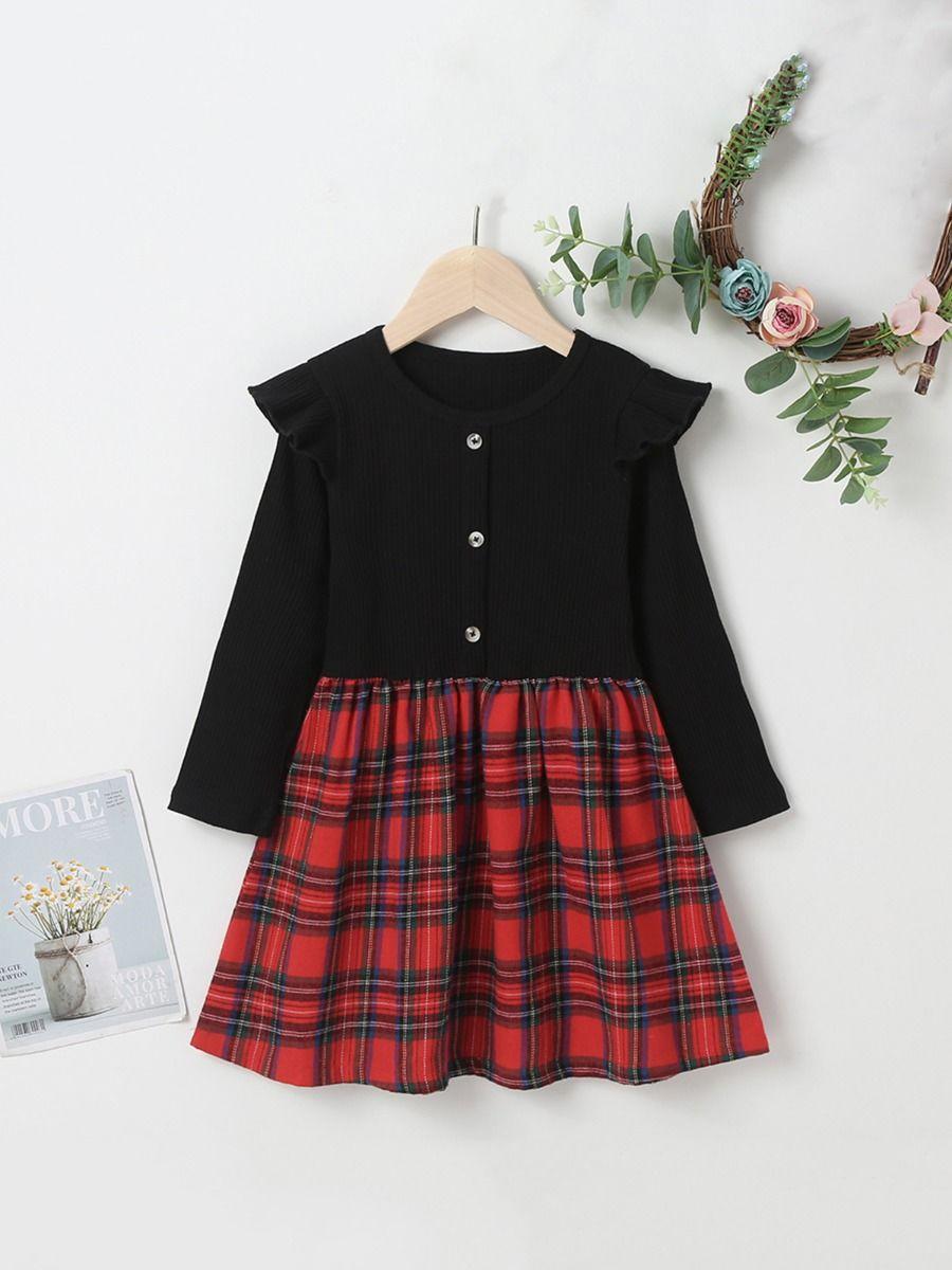 Ribbed Checked Flutter Sleeve Dresses For Girls  Wholesale DRESSES 2021-09-01