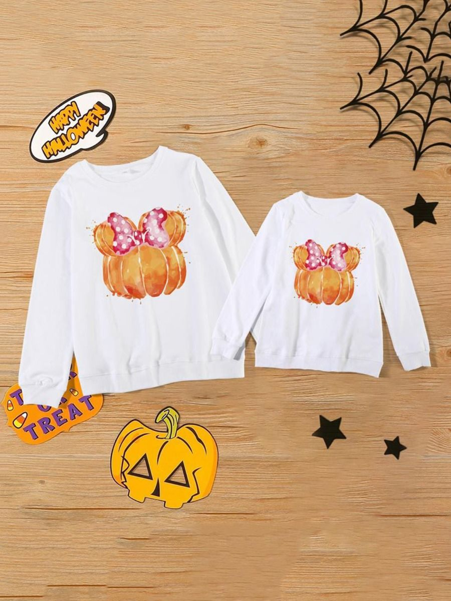 Halloween Pumpkin Bow Mommy And Me Top  Wholesale Family Matching FAMILY MATCHING 2021-08-31