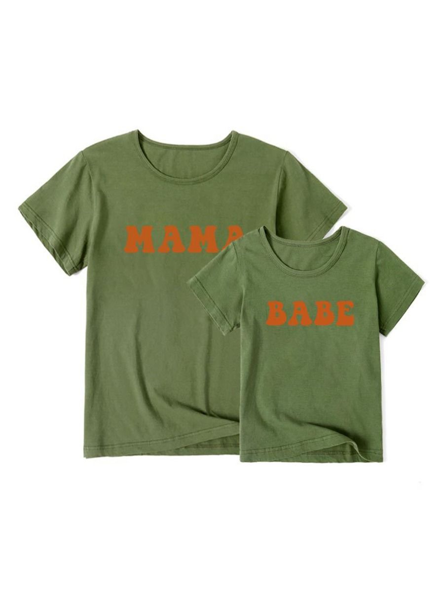 MAMA & BABE Printed Mommy And Me T-shirt  Wholesale MOMMY & ME 2021-09-01
