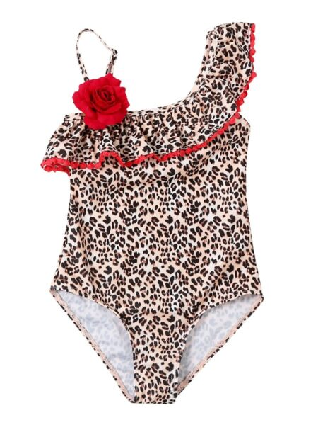 Mom and Daughter Leopard Print Flower One Shoulder Bathing Suit 2-7Years, Adult, High Summer, Wholesale KisKissing High Quality 2
